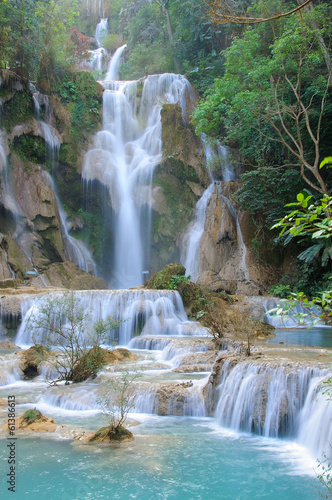 Wall mural waterfall in forest in Luang Prabang, Lao