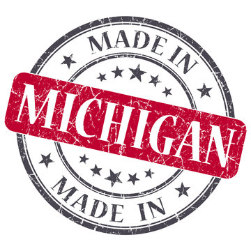 made in Michigan red gray round grunge isolated stamp on white