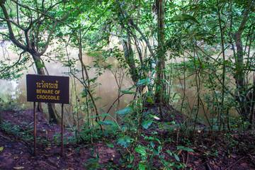 Jungle and crocodile warning sign at Khao Yai National Park