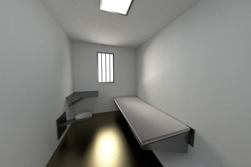 realistic 3d render of prison cell