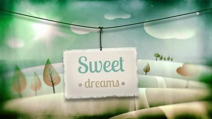 Sweet dreams, vintage children illustration