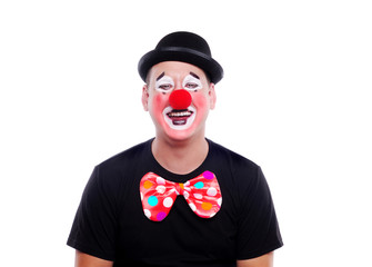 Wall Mural - Happy clown on a white background