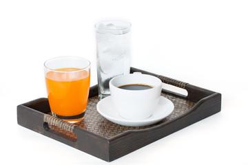 water, orange juice and coffee