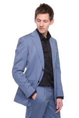 Male fashion model in business suit