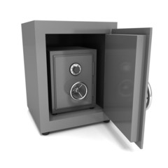 steel bank safe on white background