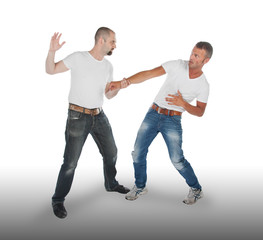 Man attacking other man