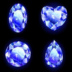 Set of blue geometric icons, red diamonds isolated on black