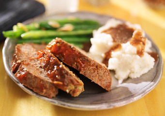 Wall Mural - meatloaf with greenbeans and mashed potatoes