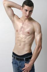 Very skinny young man, slim beautiful boy, anorexic body