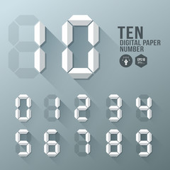Digital Number paper and shadow design, vector