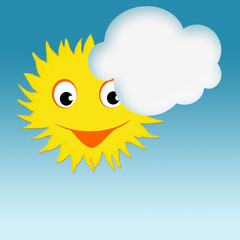 Sun with happy smiling face and cloud