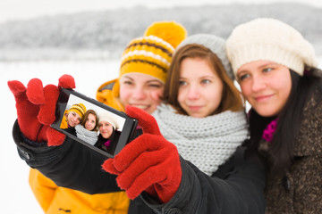 Ladies Taking Winter Selfie