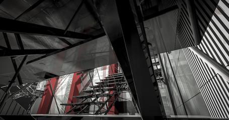 3d detail. Modern industrial interior, stairs, clean space in in