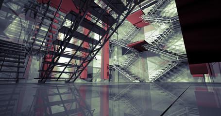 3d way. Modern industrial interior, stairs, clean space in indus