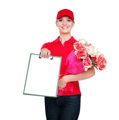 Delivery girl with tablet and flowers