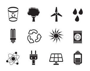 Silhouette Ecology, energy and nature icons - Vector Icon Set