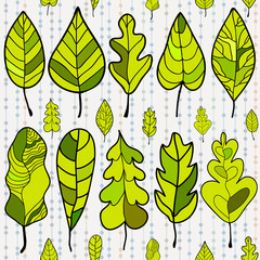 Seamless stylized leaf pattern on colored background. Decorative