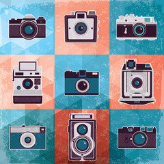 Colorful collection of retro camera set.