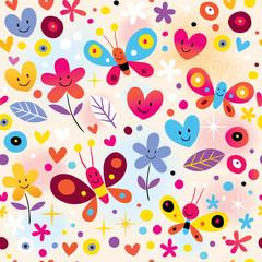 butterflies, hearts & flowers pattern
