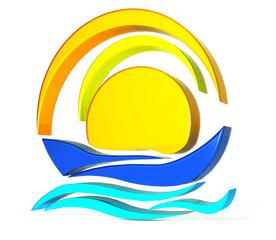 Boat sun 3D logo