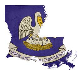 Grunge state of Louisiana flag map
