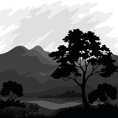 Mountain landscape with tree, silhouettes