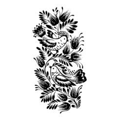 silhouette decorative birds of floral decoration