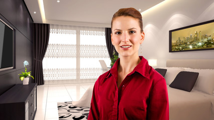 Fototapeta young caucasian businesswoman in a 3d rendered hotel