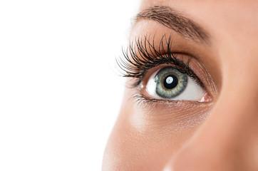 Keuken foto achterwand Iris Close up of natural female eye isolated on white background