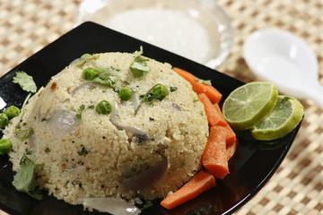 Upma is an Indian dish made of wheat rava (semolina).