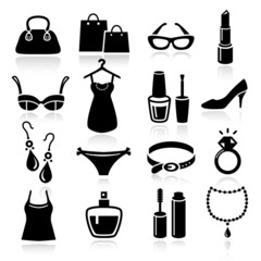 Ladies Shopping Icons
