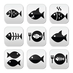 Fish, fish on plate, skeleton vecotor buttons