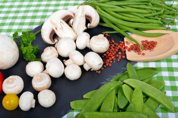 Paris mushrooms on the slate