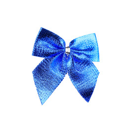 Festive blue bow made of ribbon.