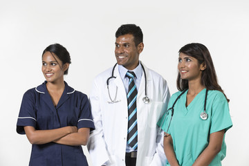 Indian medical team standing on white background