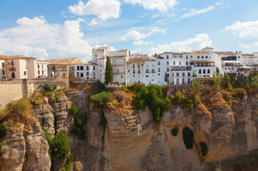 new bridge and houses on edge of an abyss in Rhonda, Spain