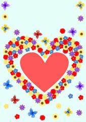 Karte mit Blumenherz, Schmetterlingen und ein rotes Herz