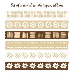 Set of natural washi tapes, ribbons, vector patterns