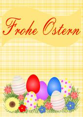Karte mit Ostereier und Text Happy Easter auf Deutsch