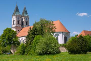 Fotomurales - Niederalteich, Kloster, Basilika, Blumenwiese, Klostermauern