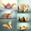 Collage of different origami papers on grey background