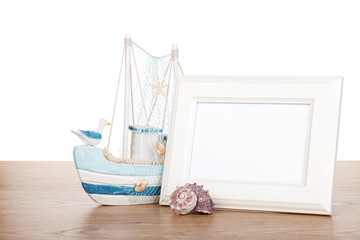 Photo frame on wood table