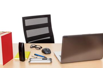 desktop with a notebook