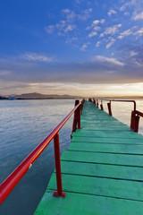 Boardwalk in Somo beach.Cantabria.