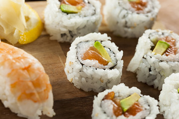 Healthy Japanese Salmon Maki Sushi