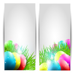 Collection of Two Vector Easter Cards with Eggs and Grass