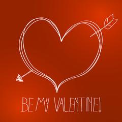 Vector cute hand drawn valentine background