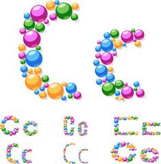 Vector alphabet symbols of colorful bubbles or balls. C