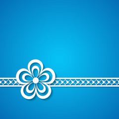 blue background with a floral border