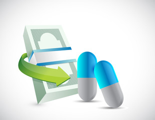 bills and pills. health prices illustration design